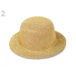 Mini klobúčik /  fascinátor s lurexom na dozdobenie Ø13,5 cm zlatá svetlá 1ks Stoklasa