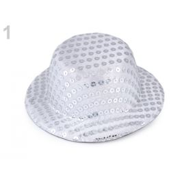 Mini klobúčik /  fascinátor s flitrami na dozdobenie Ø13,5 cm biela 1ks Stoklasa