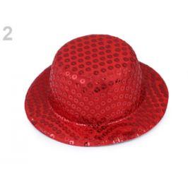 Mini klobúčik /  fascinátor s flitrami na dozdobenie Ø13,5 cm červená 1ks Stoklasa