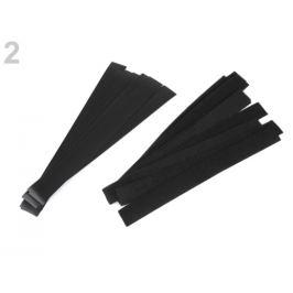 Nízkoprofilový suchý zips strihaný 2x20 cm jemný čierna 10pár