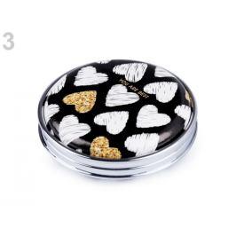 Kozmetické zrkadielko Love, srdce čierna 1ks Stoklasa