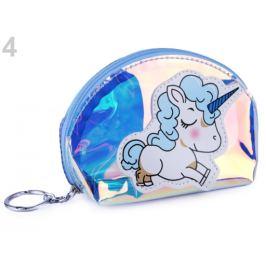 Holografická peňaženka / kľúčenka jednorožec modrá sv. 1ks Stoklasa