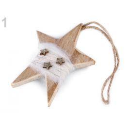 Drevená hviezda na zavesenie 7x10,5 cm biela 1ks