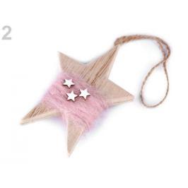 Drevená hviezda na zavesenie 7x10,5 cm pudrová 1ks