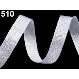 Svadobná plátnová stuha šírka 10 mm s lurexom biela 10m
