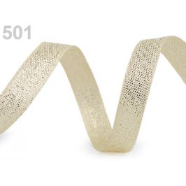 Svadobná plátnová stuha šírka 10 mm s lurexom zlatá svetlá 10m