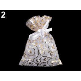 Darčekové vrecko 13x18 cm organza s ornamentami zlatá 1ks Stoklasa