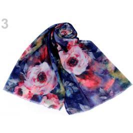 Šál kvety ruže 70x170 cm modrá berlínska 1ks Stoklasa