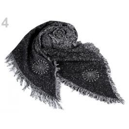 Šál zimný so strapcami a vločkou 65x200 cm čierna 1ks Stoklasa
