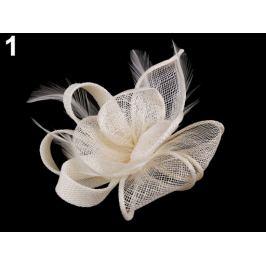 Fascinátor / brošňa kvet s perím režná svetlá 1ks Stoklasa