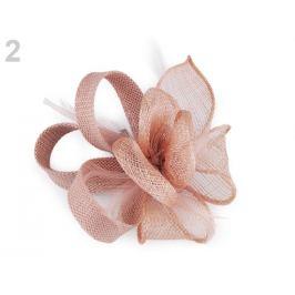 Fascinátor / brošňa kvet s perím pudrová 1ks Stoklasa