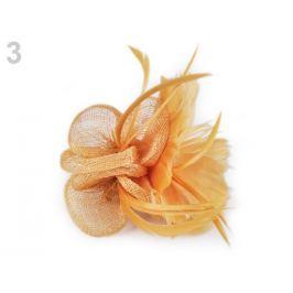 Fascinátor / brošňa kvet s perím horčicová 1ks Stoklasa