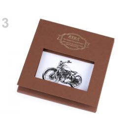 Pánska vreckovka bicykel, auto, motorka / dárčeková kazeta biela 1ks