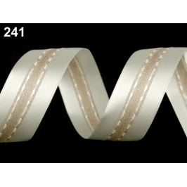 Atlasová stuha s lurexom šírka 25 mm krémová najsvetl 20m