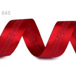 Atlasová stuha s lurexom šírka 25 mm červená 20m