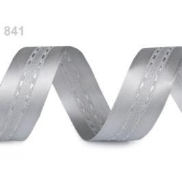 Atlasová stuha s lurexom šírka 25 mm šedá najsv. 20m