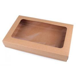 Papierová krabica natural s priehľadom hnedá prírodná 4ks Stoklasa