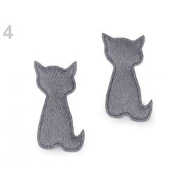 Textilná aplikácia / plastická nášivka mačka na zdobenie šedá 10ks Stoklasa