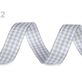Károvaná stuha šírka 15 mm šedá najsv. 3m Stoklasa