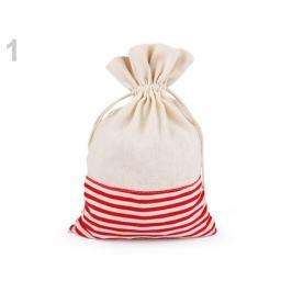 Ľanové vrecko s prúžkami 18,5x28 cm červená 1ks Stoklasa