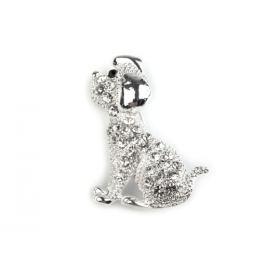 Brošňa psík s brúsenými kamienkami strieborná 1ks Stoklasa