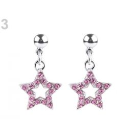 Náušnice so Swarovski Elements hviezda rose light 1pár