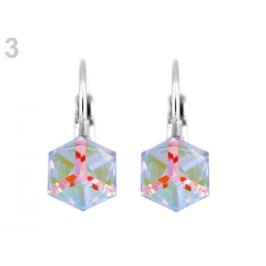 Náušnice so Swarovski Elements kocka crystal 1pár