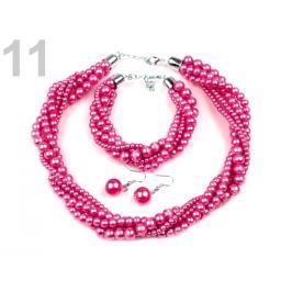Perlový náhrdelník, náramok a náušnice, sada malinová 1sada Stoklasa