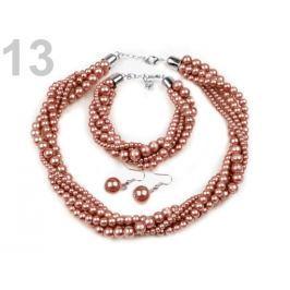 Perlový náhrdelník, náramok a náušnice, sada hnedá sv. 4sada Stoklasa