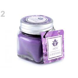 Malá vonná sviečka v skle s menovkou fialová levandula 1ks