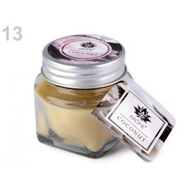 Malá vonná sviečka v skle s menovkou krémová 1ks
