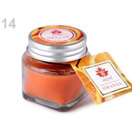 Malá vonná sviečka v skle s menovkou oranžová výrazná 1ks