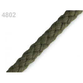 Bavlnená šnúra Ø9 mm splietaná zelená khaki 10m