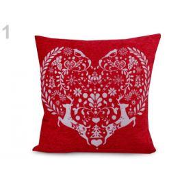 Obliečka na vankúš 45x45 cm srdce, vločka červená vianočná  1ks Stoklasa