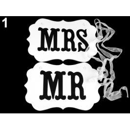 Svadobné ceduľky MR a MRS na zavesenie biela 1sada Stoklasa