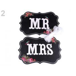 Svadobné ceduľky MR a MRS na zavesenie čierna 1sada Stoklasa