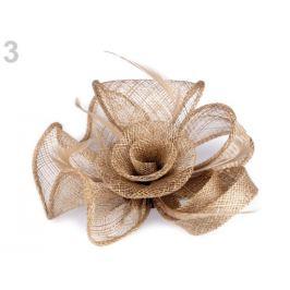 Fascinátor / brošňa kvet s perím režná príodná 1ks Stoklasa