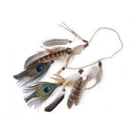 Spletená čelenka do vlasov / náhrdelník s perím a korálikmi hnedá prírodná 1ks Stoklasa