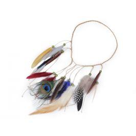 Pružná čelenka do vlasov / náhrdelník s perím a korálikmi multikolor 1ks Stoklasa