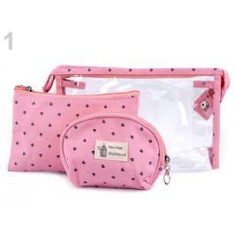 Kozmetické tašky sada 3 ks ružová sv. 1sada Stoklasa