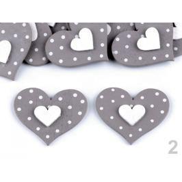 Drevená dekorácia srdce šedá 48ks