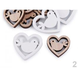 Drevená dekorácia srdce, vtáčik, motýľ na nalepenie mix veľkostí