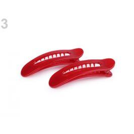 Spona do vlasov so zúbkami 2,7x9 cm červená  2ks Stoklasa