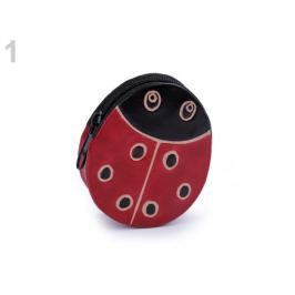 Peňaženka kožená / mincovka červená tm. 1ks
