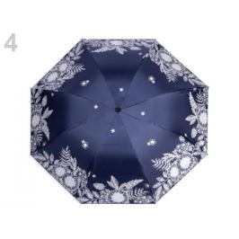 Dámsky skladací dáždnik kvety modrá tmavá 1ks Stoklasa