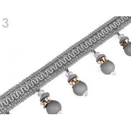 Prámik / strapce s korálkami šírka 65 mm šedá 1m Stoklasa