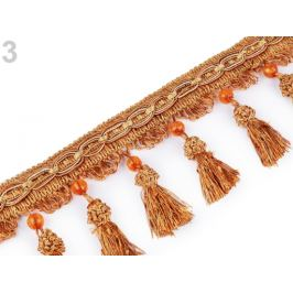 Prámik / strapce s korálikmi šírka 11,5 cm medená 1m Stoklasa