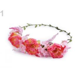Kvetinový venček do vlasov ružová korálová 1ks Stoklasa