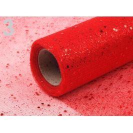 Tyl dekoračný šírka 36 cm vianočný s glitrami červená 9m Stoklasa