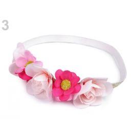 Pružná čelenka lurexová do vlasov s kvetmi ružová 1ks Stoklasa